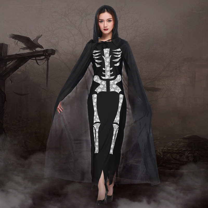 black skeleton long maxi ghost women cosplay dress with cloak PS- 9230