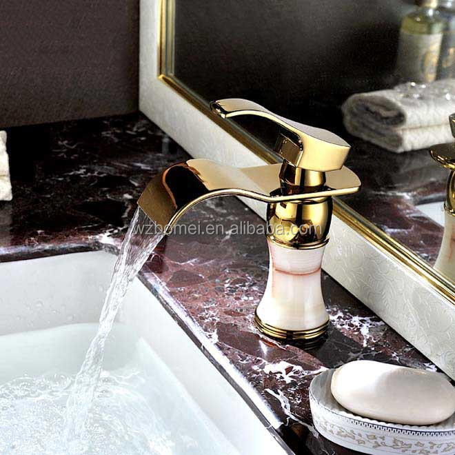 Brass polished Gold Waterfall Spout Bathroom Basin Sink Mixer Tap Faucet with jade body
