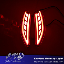 AKD Car Styling rear reflector for Honda City 2014-2016 led rear bumper led+brake light+warnning light