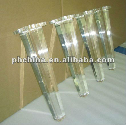 custom oem factory crystal glass table removable table plastic sofa leg