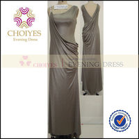 CY61012A Sleeveless Grey Color Kate Middleton Long Evening Dress With A Train