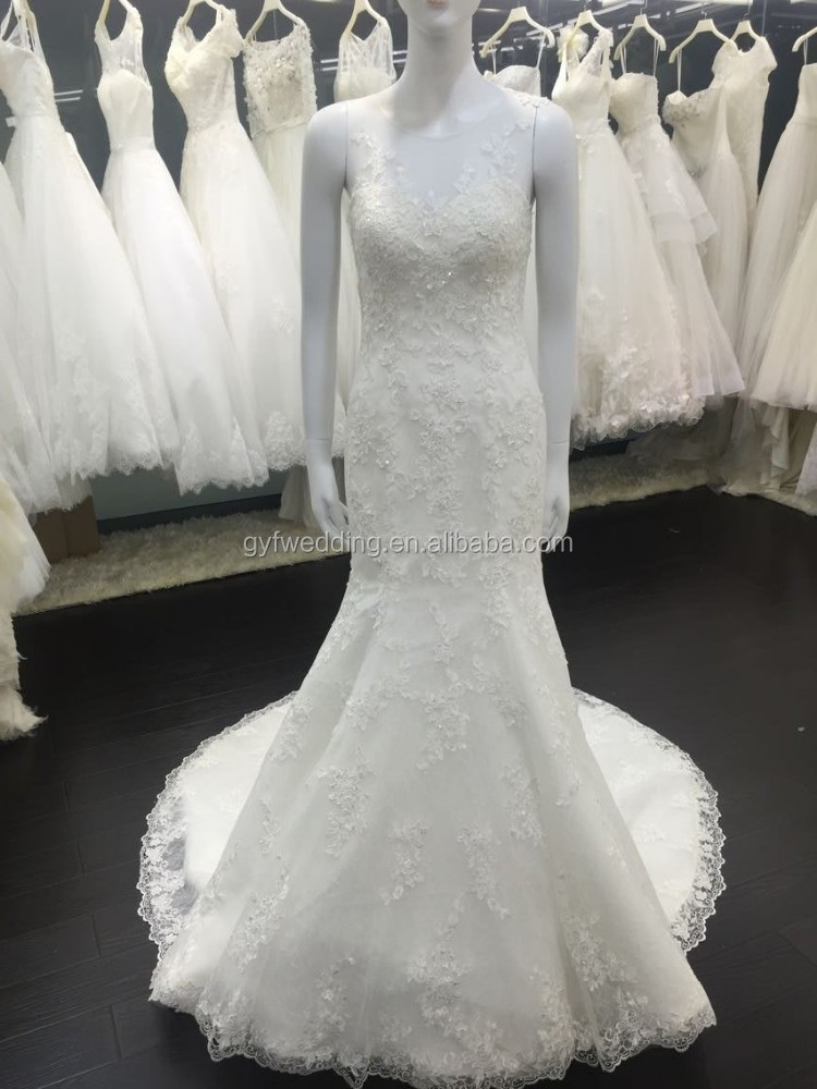 Newest Arrival Beautiful Vestidos Noiva Lace Mermaid Sleeveless Lace Appliqued Alibaba Wedding Dress VW257-2
