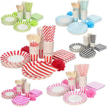 Striped Paper Party Set Including Paper Plate Paper Napkins For Wedding Party Decoration