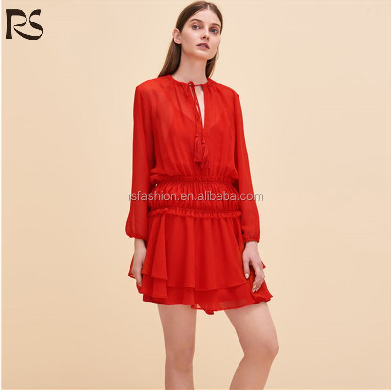 2017 Wholesale long sleeve sexy red porm dress