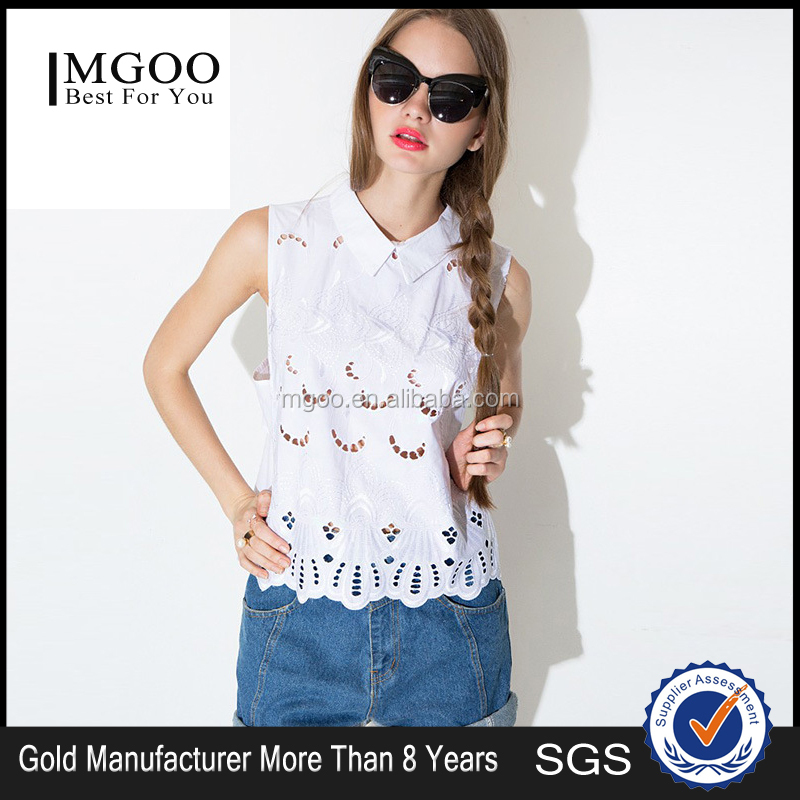 MGOO Brand Design Crochet Tops For Women White Cotton Sleeveless Muslim Fashionable Tops 15120B680