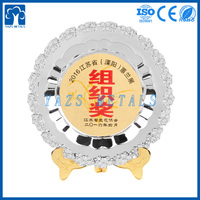 Customized metal gold silver award prize plate showpiece decoration