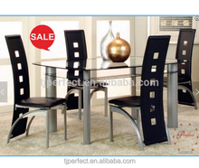 Modern hot sell metal glass dining table marble top dining table and chairs set