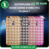 2017 new collection hot selling on Amazon electroplating tpu mobile phone case with diamond