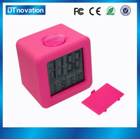 Cute pink children's portable lcd table ce travel alarm clock