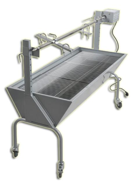 Heavy duty Rotisserie roasting pig BBQ grill Stainless steel trolley Charcoal grill