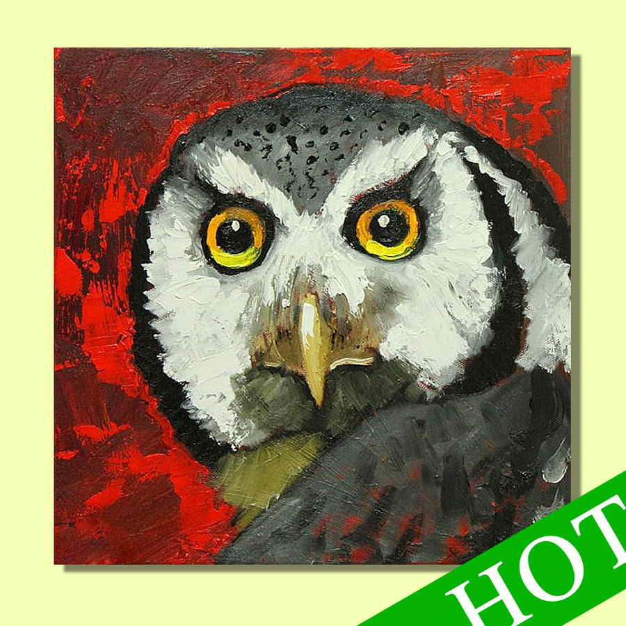 abstract decorative owls oil painting,Substantial hand-painted abstract red off the walls decorated with family pictures painted
