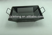 bbq basket with silver non-stick coating