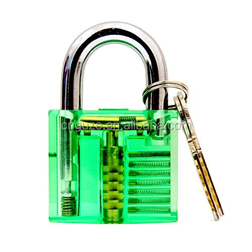 CNGUZE transparent practice inside view padlock with 24 pieces GOSO lock pick set for locksmith training set green color