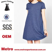 2015 wholesale fashion blue stripes swing tee dress