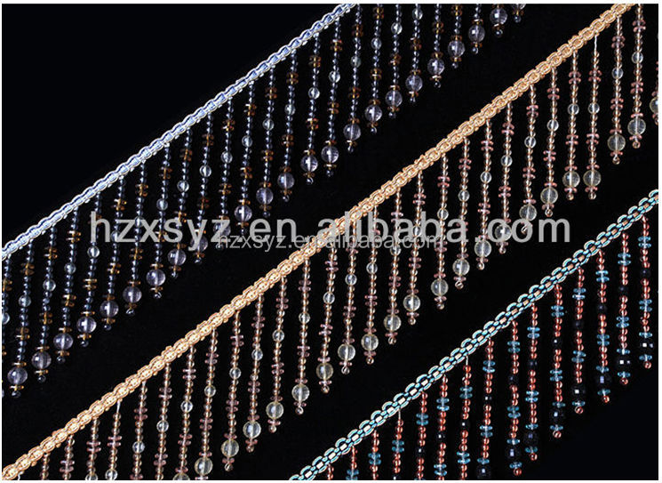 High quality curtain tassel beaded fringe for Lampshade decorative
