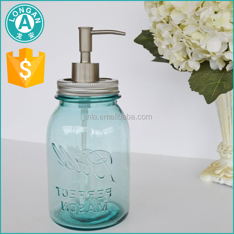 factory price clear soap liquid dispenser glass bottle mason jar with lotion pump