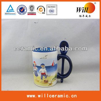 wholesale ceramic mugs with spoon for promotion