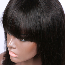New Arrival full lace bob wig with big bangs 100% human hair wig silky straight hair lace wig with baby hair in stork