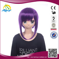 Gold supplier Heat Resistant Fibre long straight purple cosplay wig