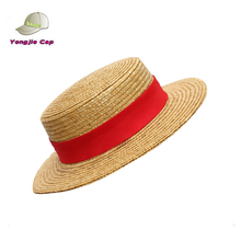2014 Ladies natural wheat straw boater hat with ribbon for sale