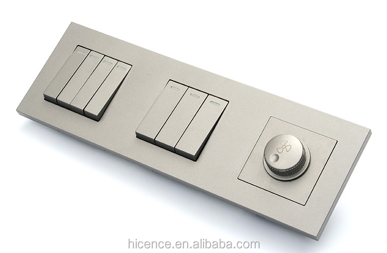 Best Quality Technology Gray Metal 3 gang Reset wall light switches with fan switch