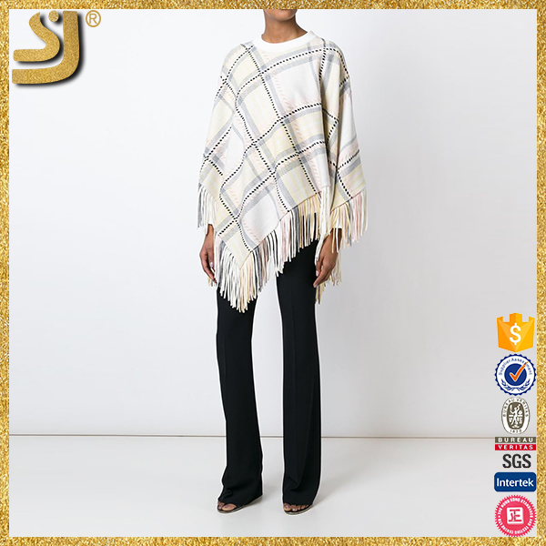 New Arrival cowl neck knitted plaid cloak, ladies batwing cardigan