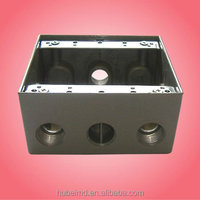 weatherproof two gang box with 2 inch depth,3/4in,4 holes,Gray