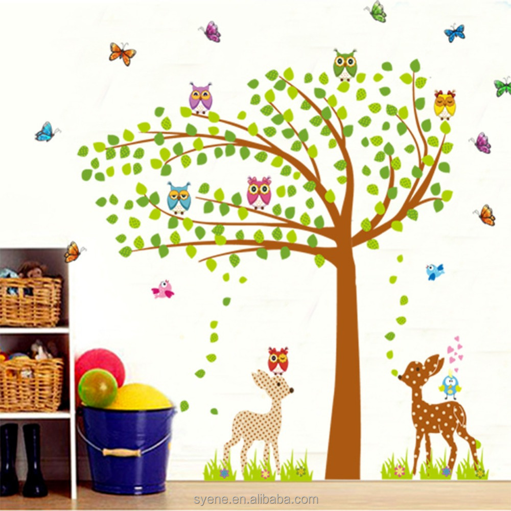 Wall Decoration Of Kindergarten : Kindergarten decoration xl colourful wall decal tree