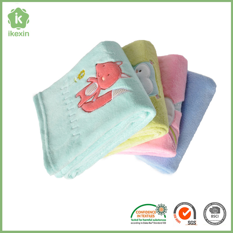 Non Toxic Hemmed Coral Fleece Indian Baby Blankets