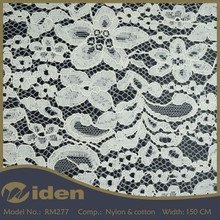150CM Nylon and Cotton White Color Knitted Lace Fabric In Rolls