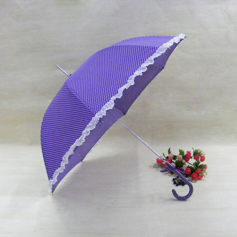 "22"" * 10 ribs straight umbrella auto open with flower lace lady's parasol XC-808"
