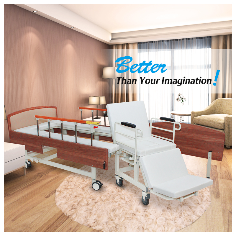 A hospital furniture durable portable outdoor nursing handicapped used metal iron bed with wheel chair