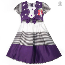 689 Purple Yiwu HaolaiyuanHot Promotional top quality children wear girls party satin dress