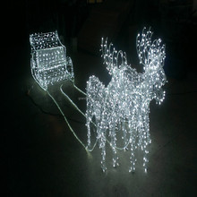 2015 waterproof IP66 outdoor 3D led reindeer with sleigh light for christmas decoration
