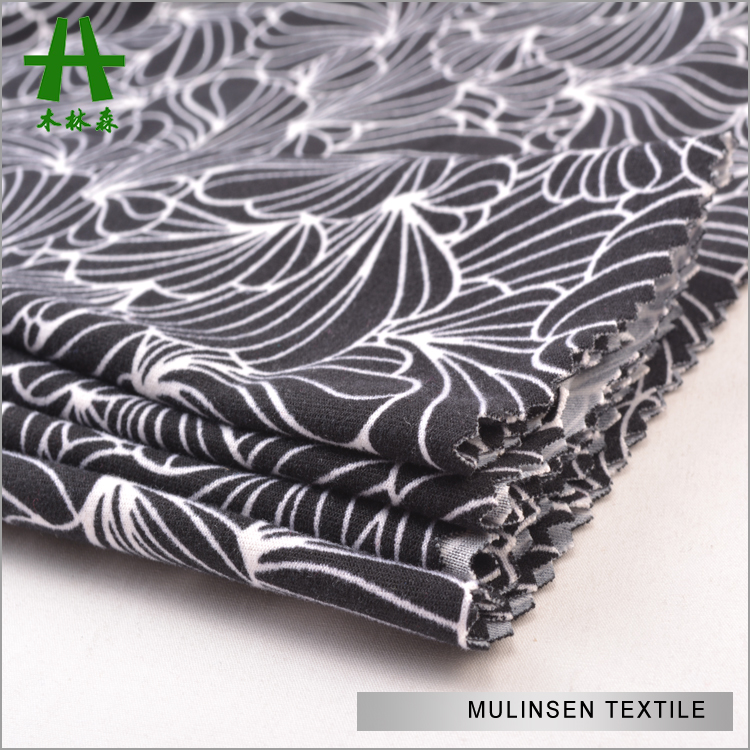 Shaoxing Mulinsen Hot Sale Knitted Poly DTY Lycra Brushed Jersey Printed Fabric Textile Company