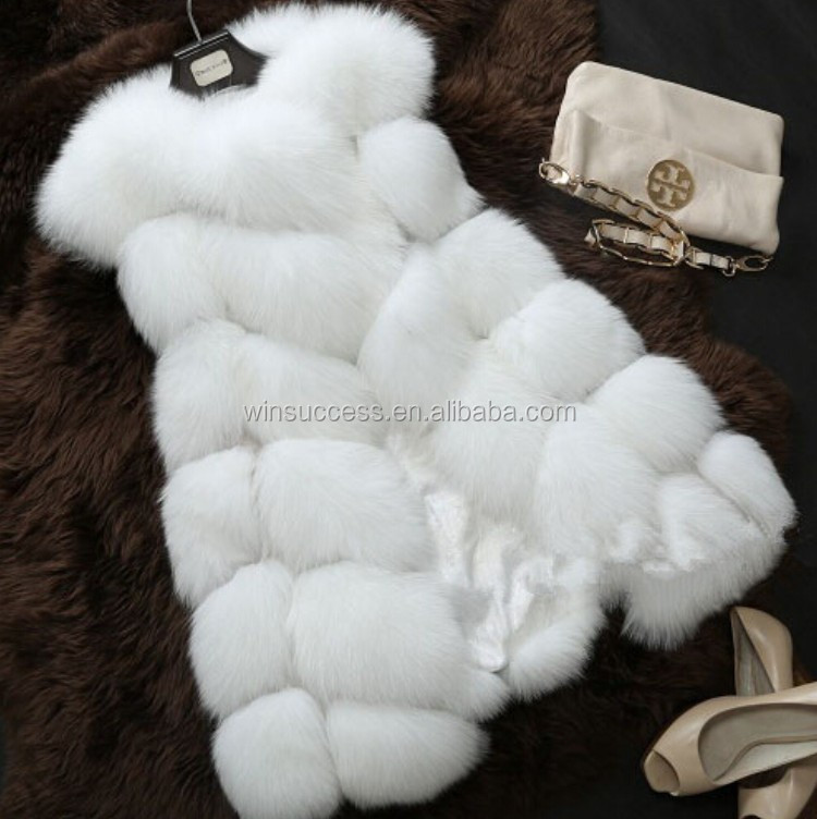 new 2017 winter european style women's long plus size faux fox fur vest with pocket