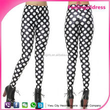 Newest Black Background White Dot 100% Spandex Leggings Girl