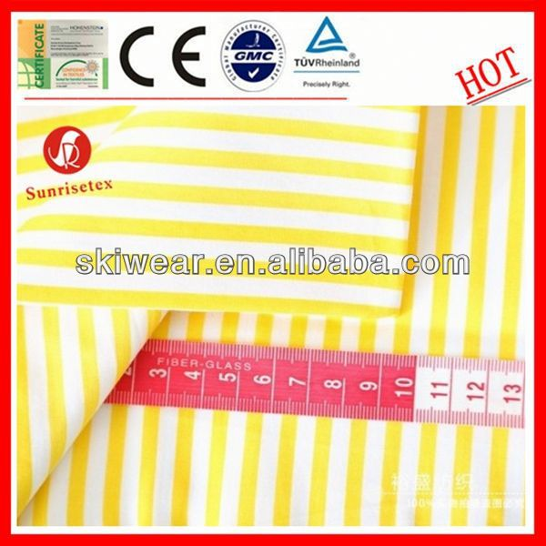wholesale wicking yellow and white stripe fabric for garment