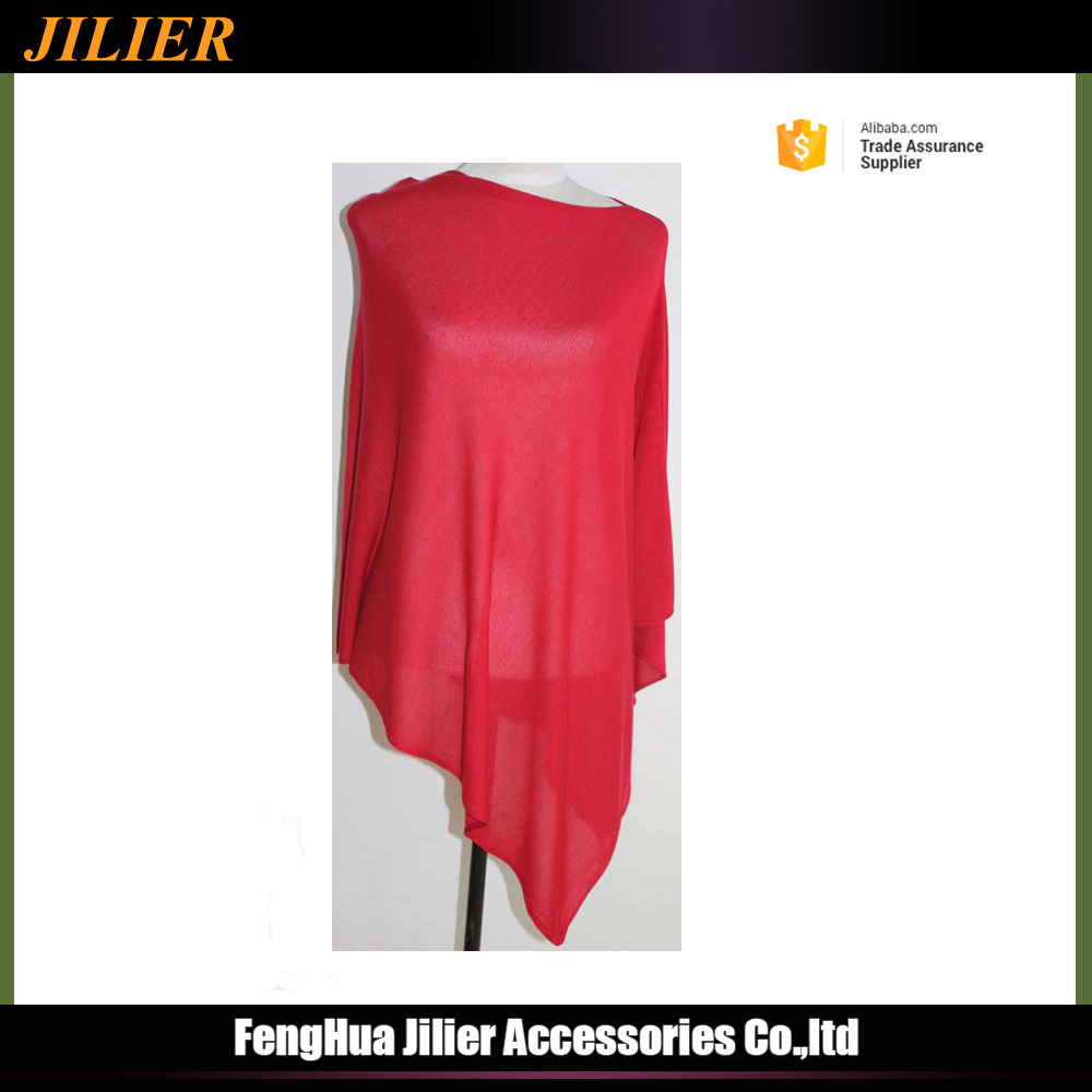 Wholesale fashional winter knitted red poncho bamboo scarf sweater for woman