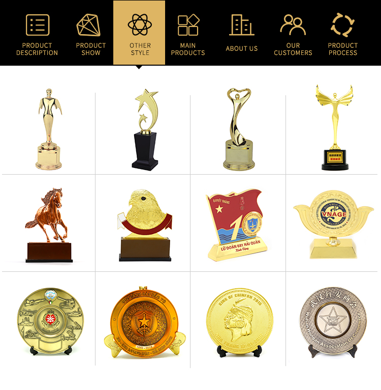 Shuanghua custom metal zinc alloy gold souvenir trophy for vietnam