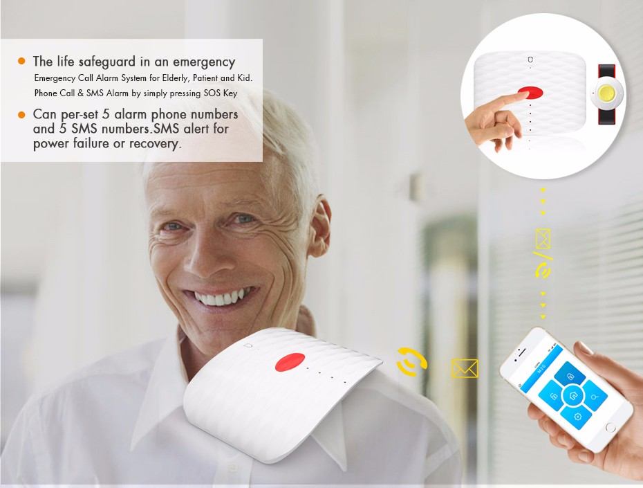 Wireless Gsm Elderly Sos Medical Alarm With Sos Emergency
