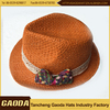 Various new type raffia straw knitted fedora hat for summer