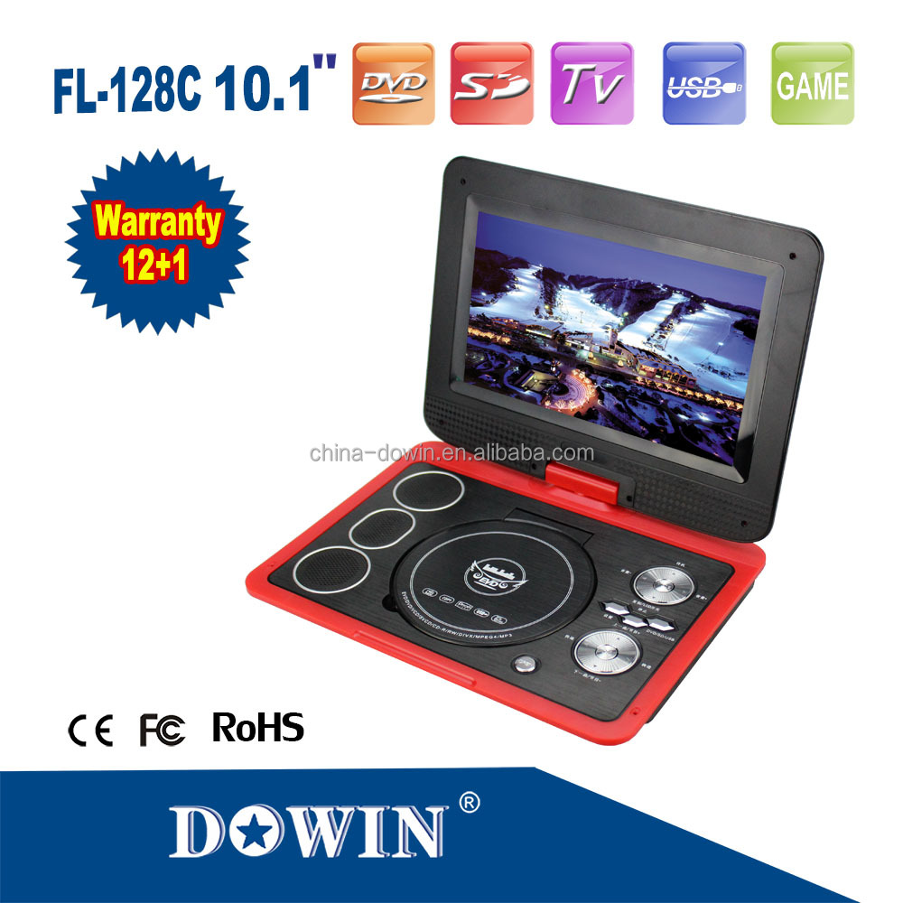 "manufacture wholesale OEM Multi Colors Fashion 10.1"" Inch Portable Home DVD Player FL-128C With Analog TV Games MP3 MP4"