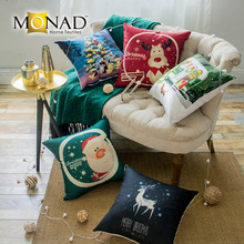 Monad latest decorative christmas santa claus snowman reindeer bright glow light relax pillow cushion covers