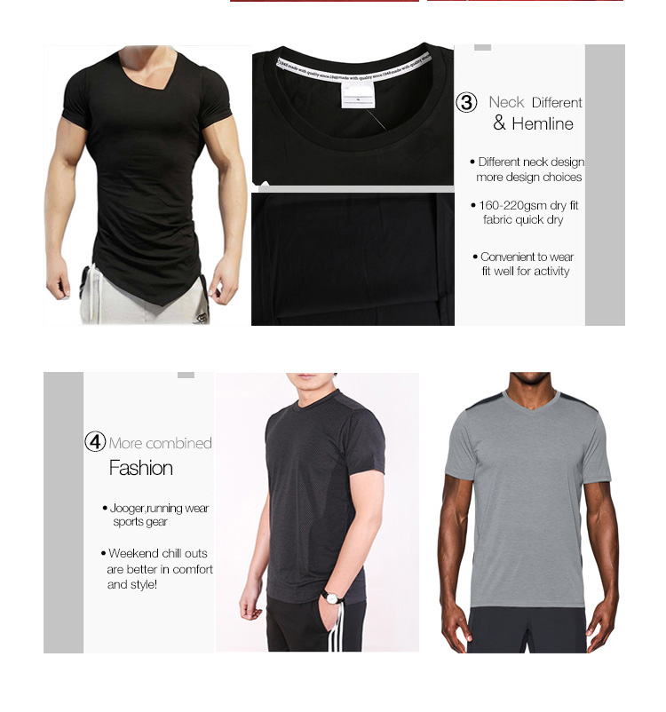 Polyester Multi Black Fitness Gym Clothing Lifting Workout V Neck Short Sleeve Muscle Fit T-shirts