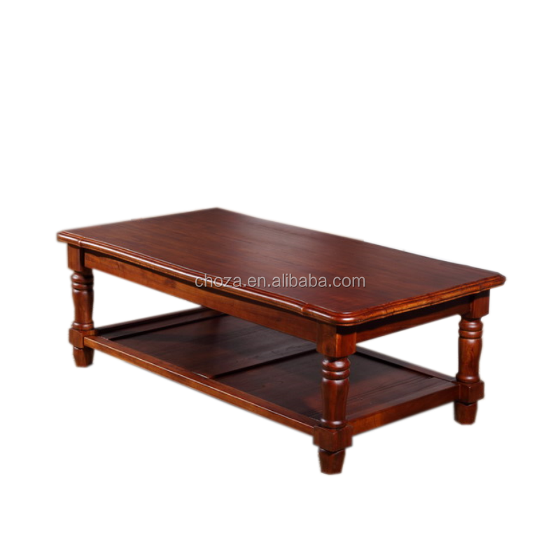 F40969A-1 Classic wooden furniture rectangular tea table design solid wood coffee table