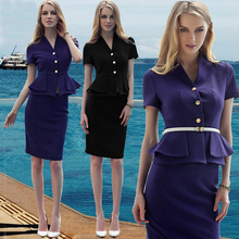 New Summer Office Ladies Business OL Women Suits with Skirt and Top Jacket Sets