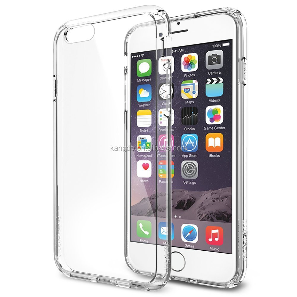 Newest Crystal Clear Air Cushion Technology Bumper Case with Clear Back Panel for iPhone 6S