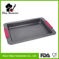 Carbon steel Non-stick / Ceramic coating Professional Square Cake Pan W/ Silicone Handle BK-D5007