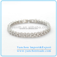 2015 Fashion Tennis Bracelet Designs with Rhodium Plated Clear CZ Diamond